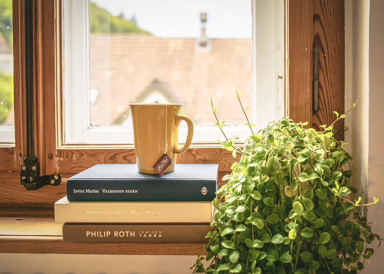 Bøger er stablet i vindueskarm
